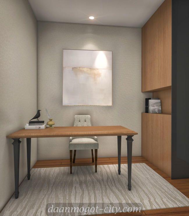 Design interior study room apartemen Damoci