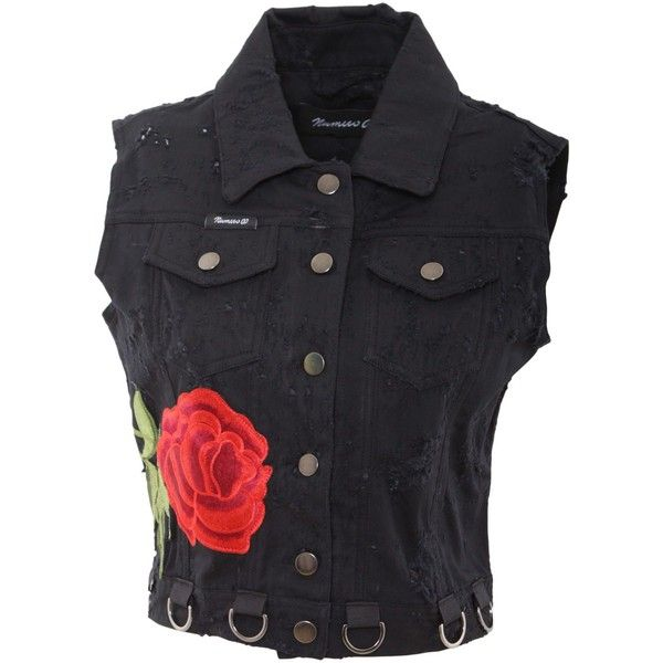 numero00 Denim Waistcoat 2132 ($177) ❤ liked on Polyvore featuring outerwear, vests, black, waistcoat vest, embroidered vest, denim waistcoat, denim vest and pocket vest