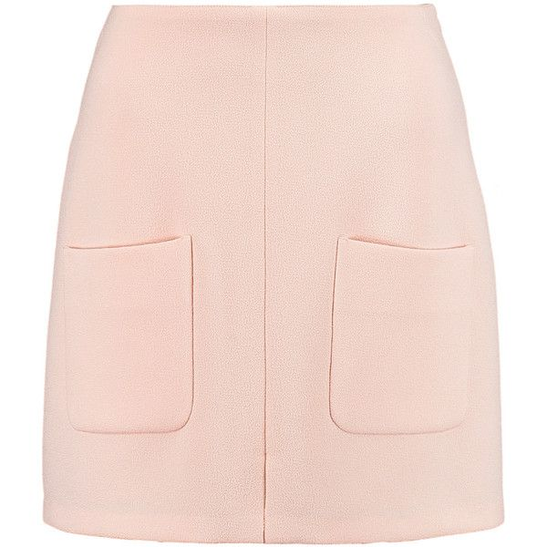 See by Chloé Crepe mini skirt (€95) ❤ liked on Polyvore featuring skirts, mini skirts, bottoms, faldas, pastel pink, pastel skirts, mini skirt, pink skirt, crepe skirt and front slit skirt