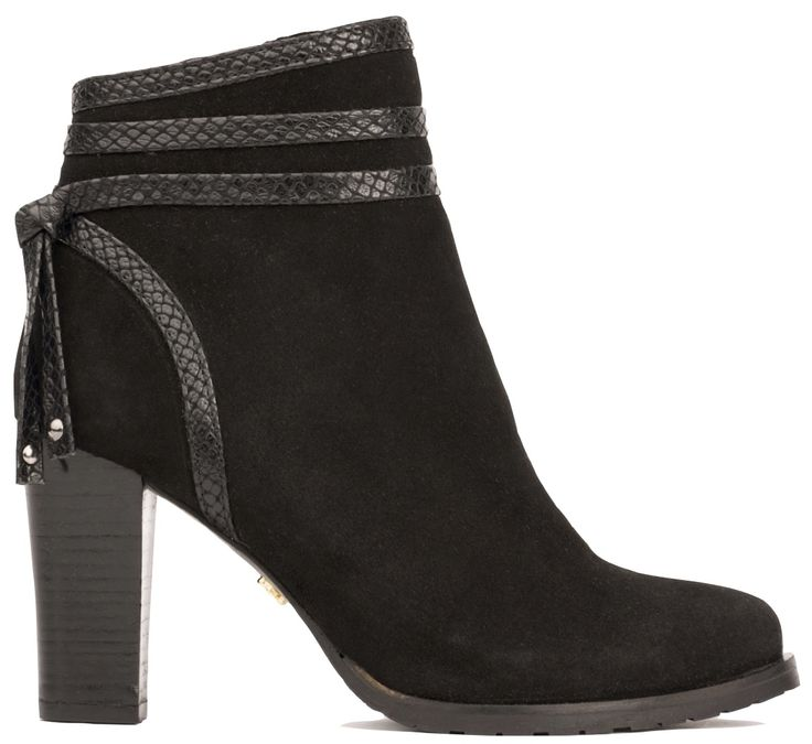 Ankle boot city black lace
