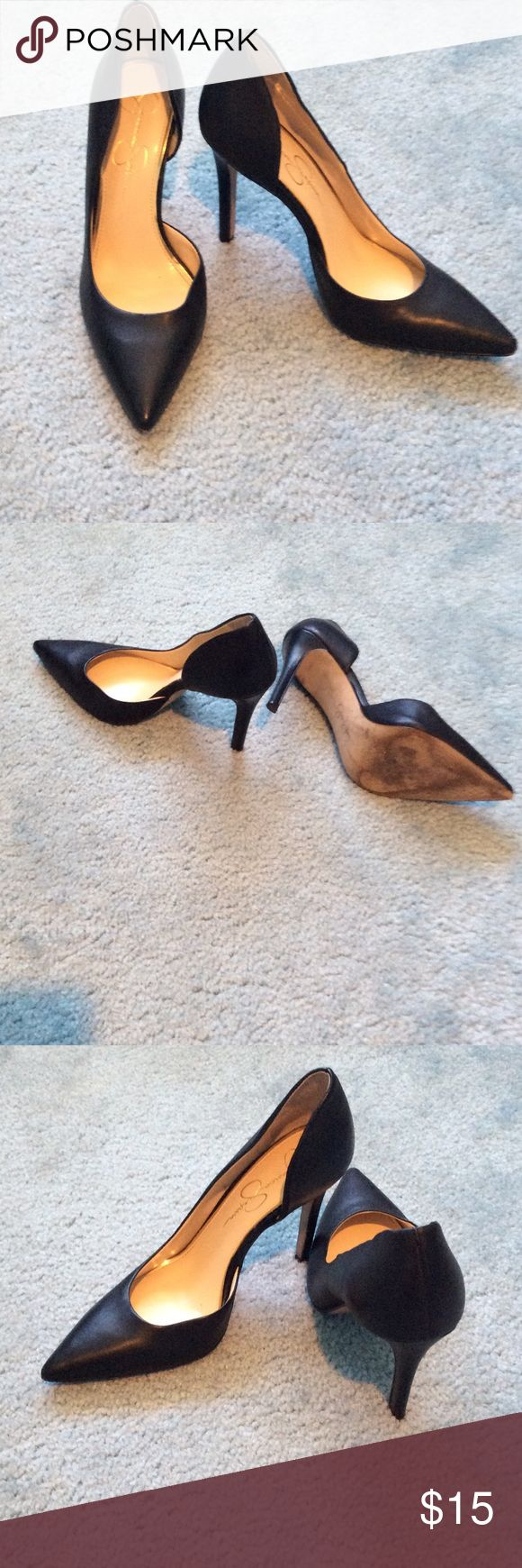 Jessica Simpson black pumps ❤Jessica Simpson❤ black pointed toe heels. 🌼LIGHTLY WORN, LIKE NEW🌼 Jessica Simpson Shoes Heels