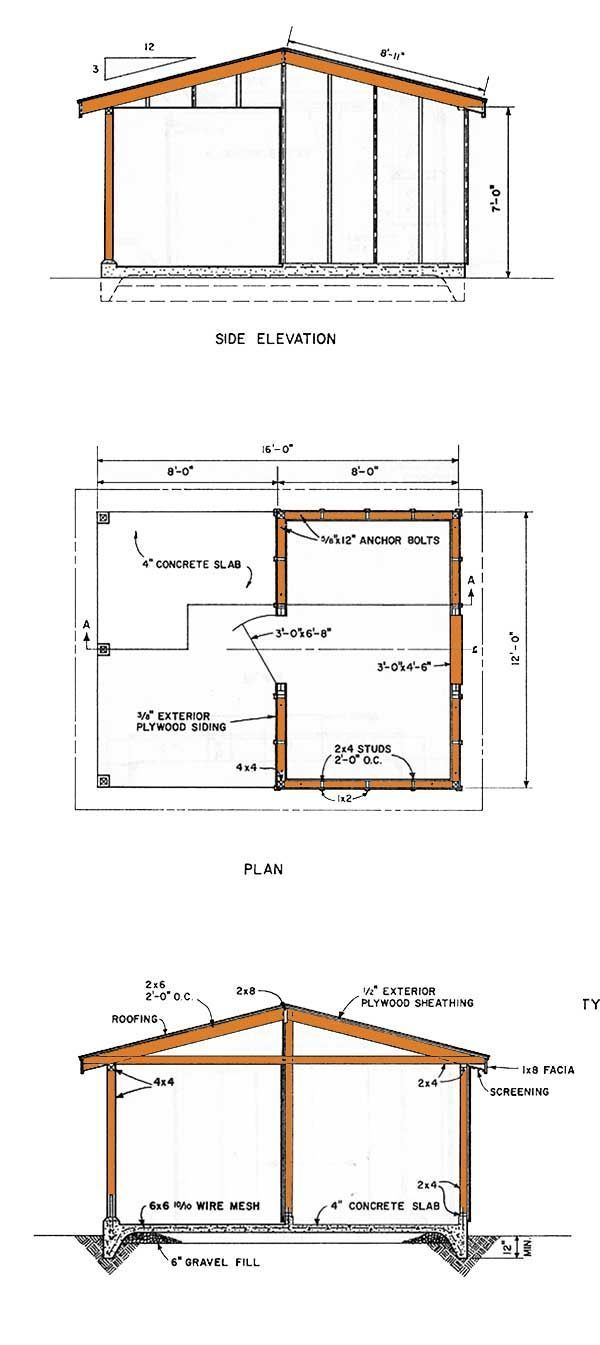 12x16 Shed Plans Elevation Ideas For Building A Pinterest Wiring Diagram