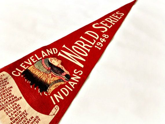 1948 World Series Pennant Cleveland Indians by vintage19something