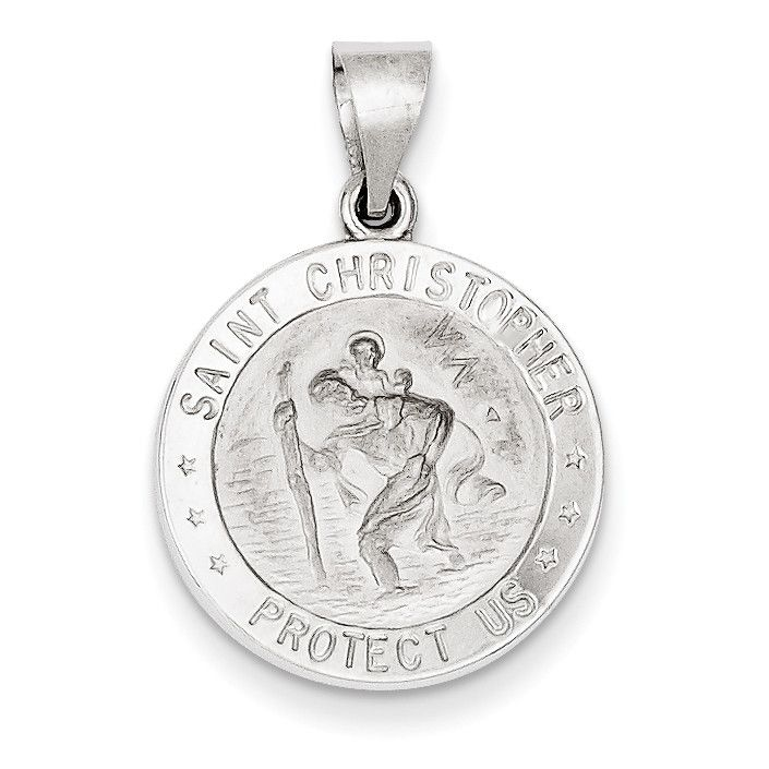 14k White Gold Polished and Satin St. Christopher Medal Pendant XR1301
