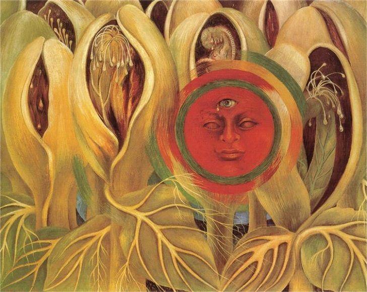 A Nap életet ad - Frida Kahlo (Mexican, 1907-1954) - El Sol y la Vida, (Sun and Life), 1947 - - - A Nap életet ad a növényeknek… a növényekben megjelenő női és férfi nemi szervek, mint a teremtés lehetőségei együtt védik a növekvő magzatot. A Nap és a magzat sír… Ez amiatt lehet, hogy egy 18 éves korában bekövetkezett balesete miatt Frida Kahlo-nak nem lehetett gyereke…