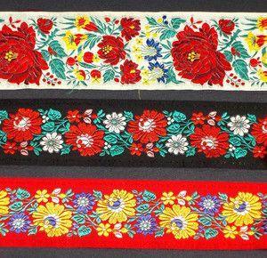 LOT European Floral Ribbon Peasant Ethnic Trim Czech ...