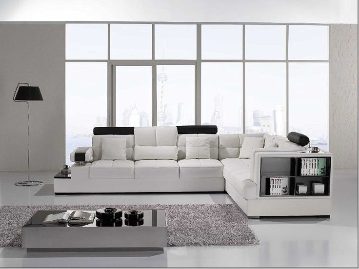 Amazon.com: Vig Furniture T117 Modern White Leather Sectional Sofa: Kitchen & Dining