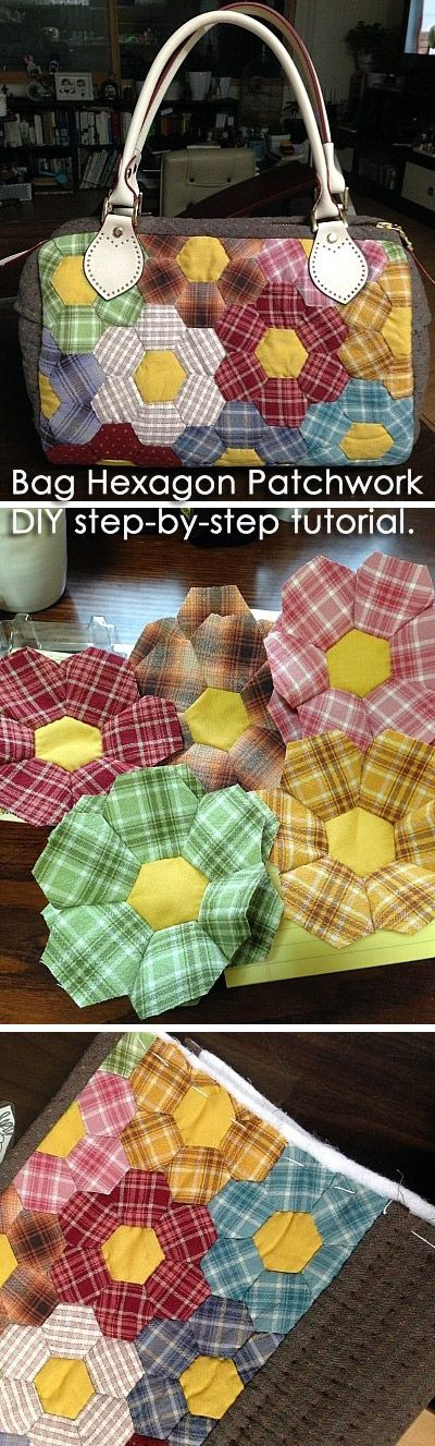 Bag Hexagon Patchwork   DIY step-by-step tutorial. Aren't those plaids cute?  http://www.handmadiya.com/2015/08/bag-hexagon-patchwork.html