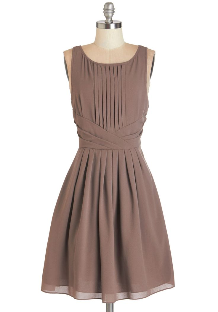 Dramatically Simple Dress. Subtle sophistication is a key trait of your personal style, and you don this taupe dress when you really want to show it off! #tan #modcloth