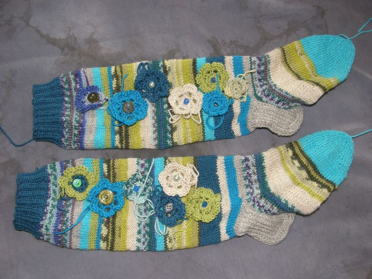 Woolsocks with flowers, pearls and buttons
