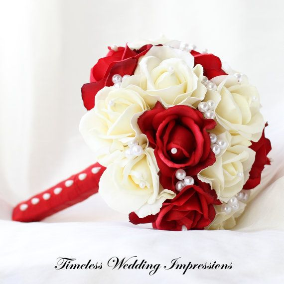 Wedding Bouquet Red Roses Silk Bridal Pearls White Christmas Flowers Real