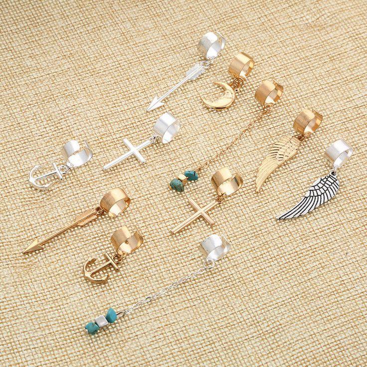 2$ Gold Silver Hair Dread Braids Dreadlock Bead Adjustable Cuff Clip Ring Beads