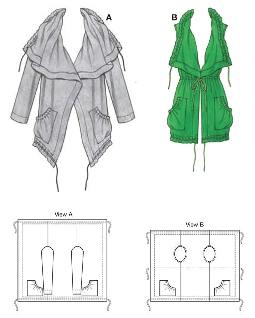 Waterfall neck Jacket & Vest ... No longer available but line drawings possible with hip & shoulder measure.......