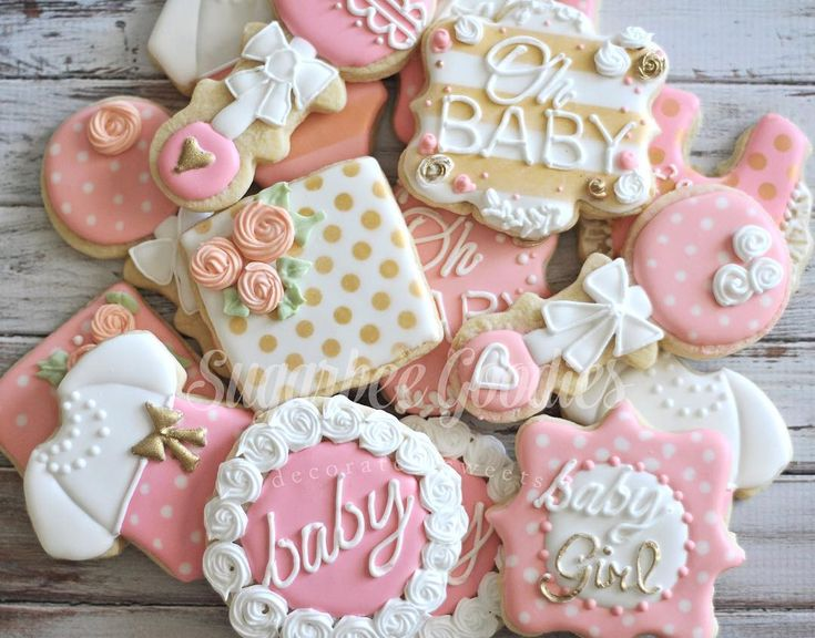 cookies for baby shower pink and gold baby shower