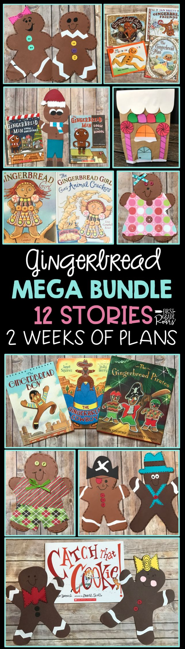 This gingerbread bundle was created for 2 weeks of fun. It includes 12 different stories with lesson plans for each story. Colorful posters are included to teach sequencing, characters, compare and contrast, and more. There are over 400 pages of fun with 7 different gingerbread crafts. Reading strategies, and writing included. This is the perfect unit for guided reading in kindergarten, first grade or second grade.  It is also part of my MEGA 40 week bundle Guided Reading with a PURPOSE!