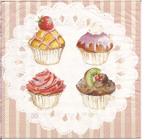 Cupcake Art Vintage : 347 best images about FOOD illustration Decoupage ...