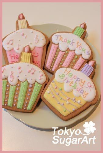 ♪を入れたり、ストライプでカップケーキ風のデコレーション
