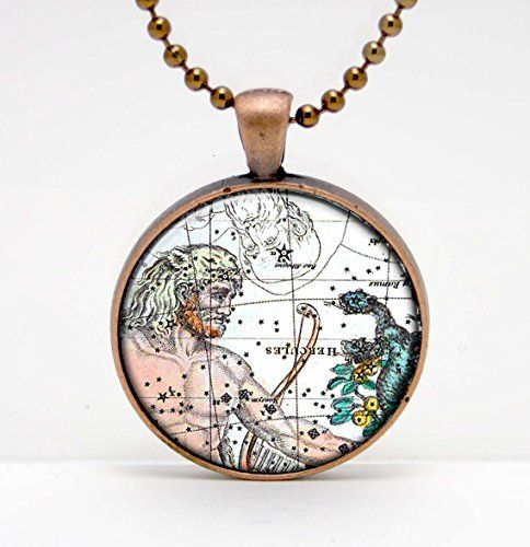 Hercules Constellation Celestial Map Art Glass Pendant or Key Chain- 30 mm round- Chain Included- Made to Order
