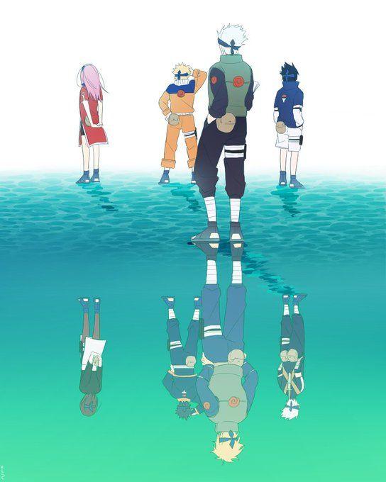 NARUTO かつての姿 Kakashi Naruto Sakura Sasuke Minato Obito Rin