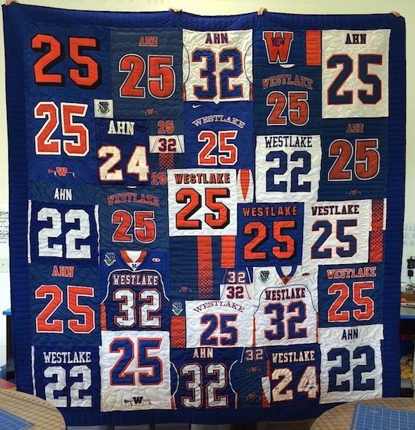 If you are a football player, you end up with a lot of football jerseys and T-shirts. A T-shirt/jersey quilt is a perfect way to save all those memories.