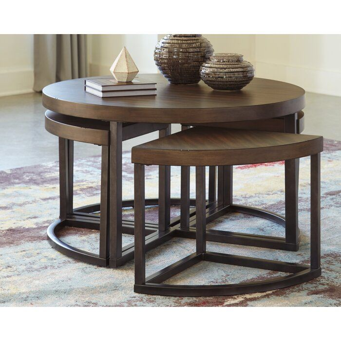 Lizeth Coffee Table With 4 Nested Stools Coffee Table Coffee Table With Stools Round Wooden Coffee Table