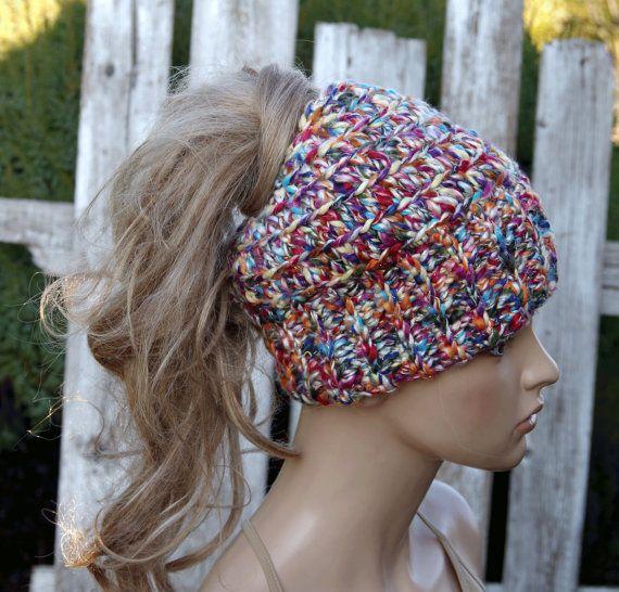 Messy bun beanie colorful melange Women Hat Winter messy by Degra2