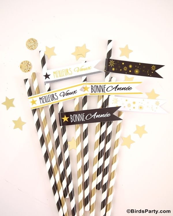 New Year's Eve Party Ideas: DIY Black, White and Gold Tablescape by Bird's Party