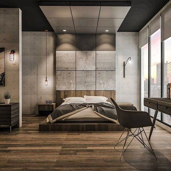 And at the end of our gallery we represent you modern bedroom for long and romantic nights. The floor is made of wood that will give you extra warmth beside love and rustic details such as chandelier and lamps perfectly fit with the rest of modern furniture.