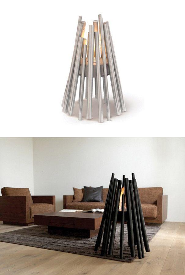 Freestanding bioethanol #fireplace STIX by EcoSmart Fire   #design Hiroshi Tsunoda @EcoSmart Fire