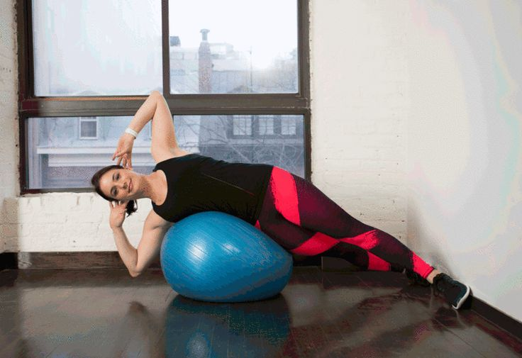 10. Stability Ball Wall Side Crunch #stabilityball #abs #exercises http://greatist.com/move/abs-workout-best-stability-ball-moves-for-your-core