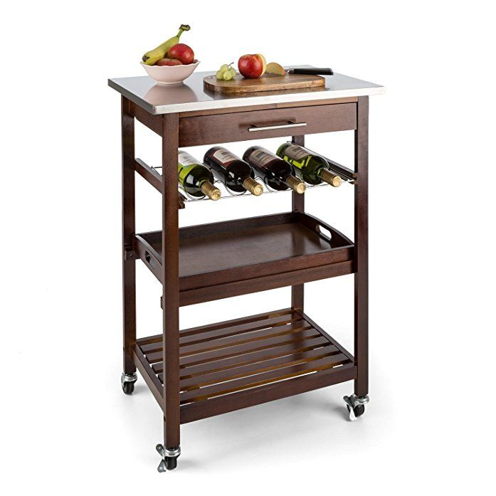 Klarstein Vermont Kitchen Wagon (Serving Trolley Drawer Wine Rack Stainless Steel)