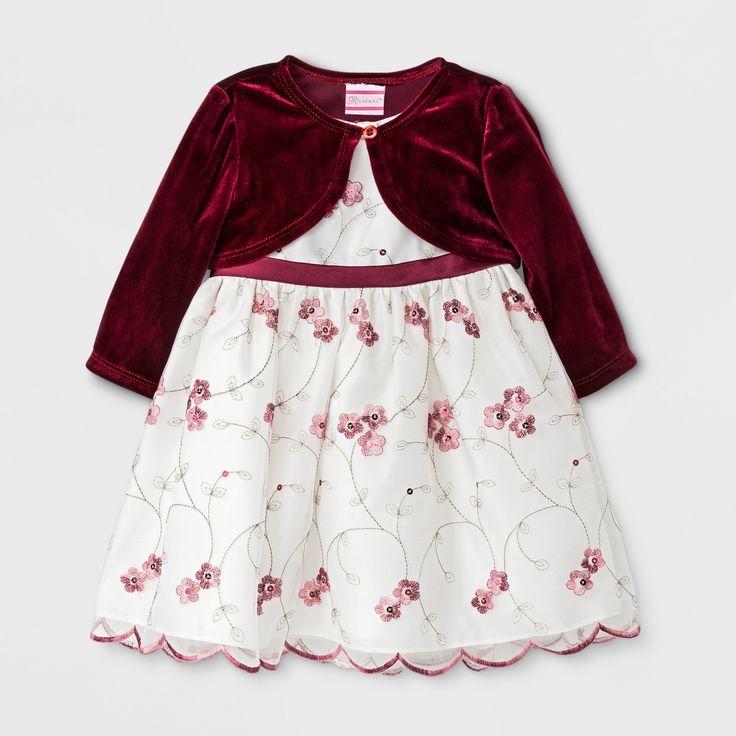 Rosenau Baby Girls' Floral Dress with Velour Jacket - Burgundy 6-9M, Size: 12 M, Red