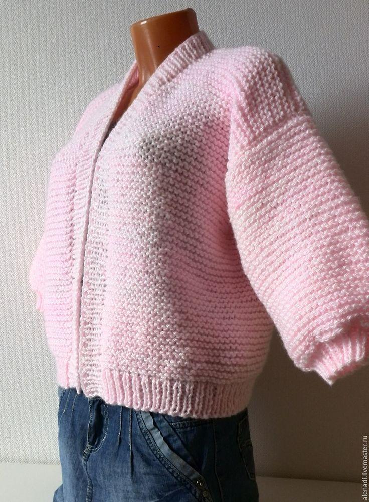 Купить Вязаный жакет Бомбочка - бледно-розовый, короткий жакет спицами, бомбер