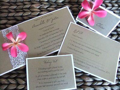 Pink Frangipani Beach - Handmade Wedding Invitation Sample Set