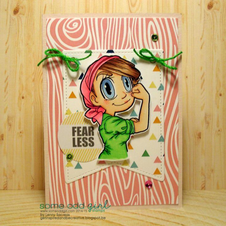 Fearless ... @someoddgirl Sunshine sorbet papers & sequins, digi: Fighter Gwen, Copic coloring Getinspiredandbecreative