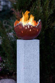 Feuerschale aus Bronze rot inkl. Brennkammer für Bio-Ethanol (rauchfrei)%Gartendeko % günstig im Online Shop kaufen: Bronze-Gartenfiguren, Regenwasser-Nutzung, Schläuche und Corten Terassen-Öfen
