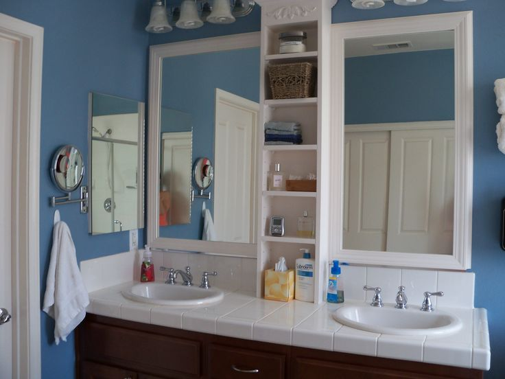 Framed Bathroom Mirror My Husband Did This One Built The Shelves And Out