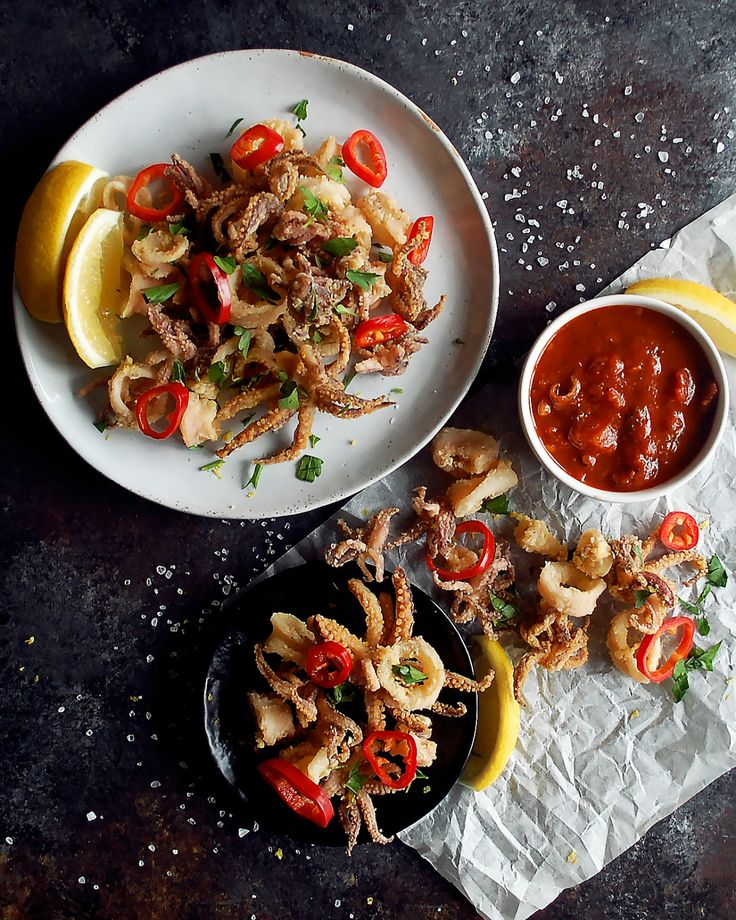fried calamari with pickled red fresno chili peppers