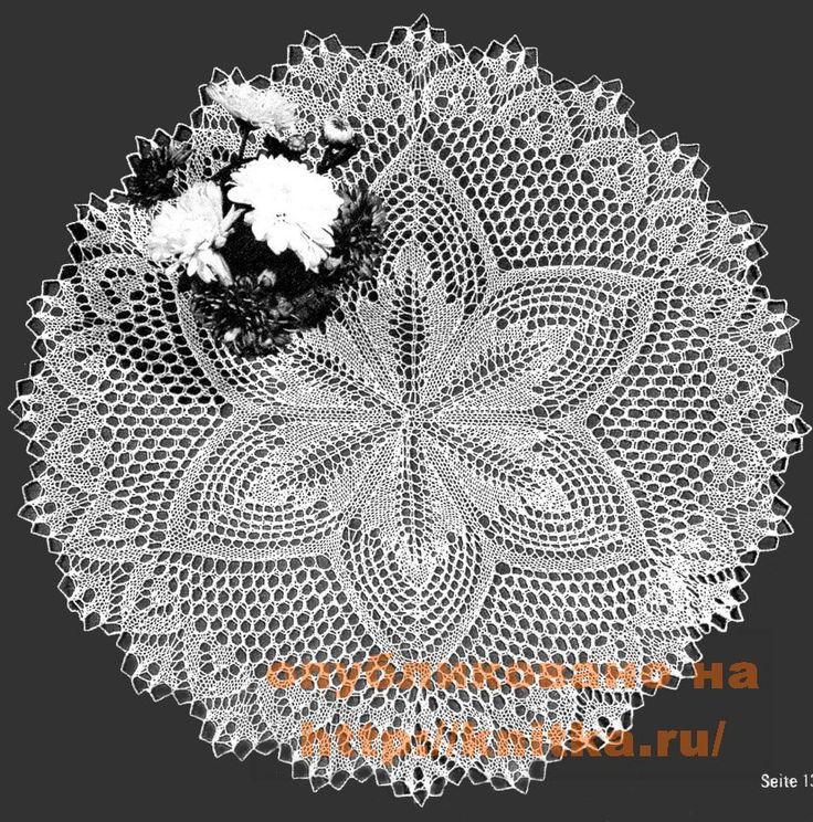 Салфетка с растительными мотивами - описание, схемы.