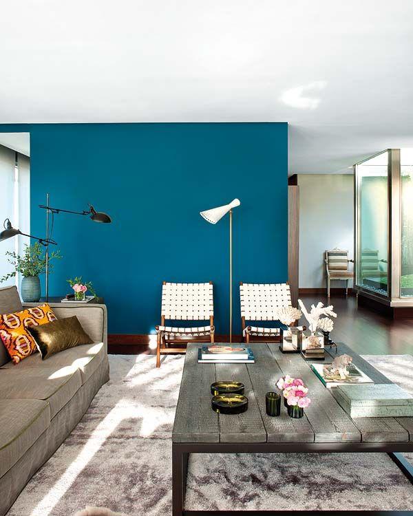 Peacock blue wall