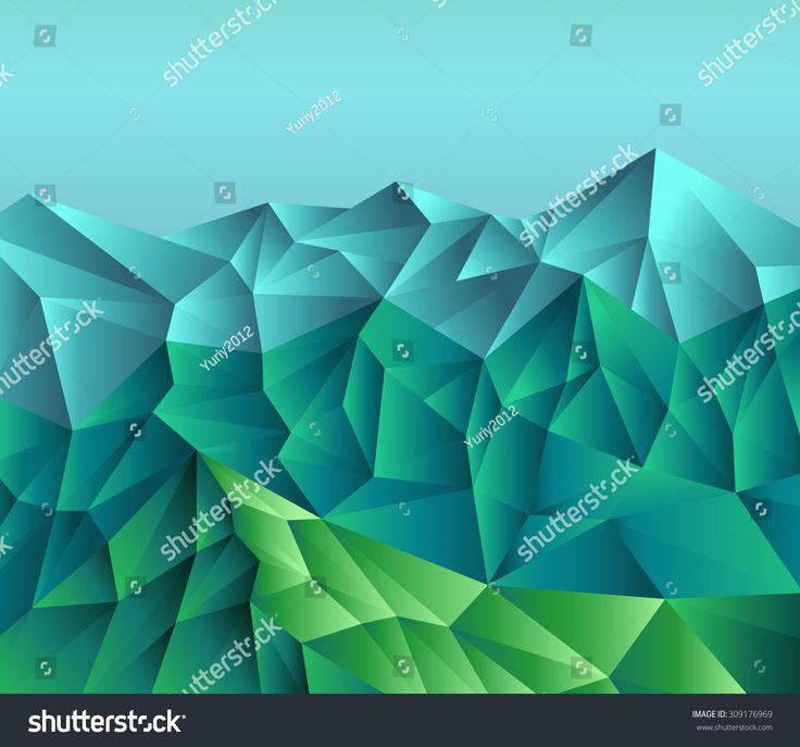 abstract layered image of mountains, glaciers, icebergs in blue and green with overflow. executed in the technique Triangle. Ridge, slopes, cliffs.