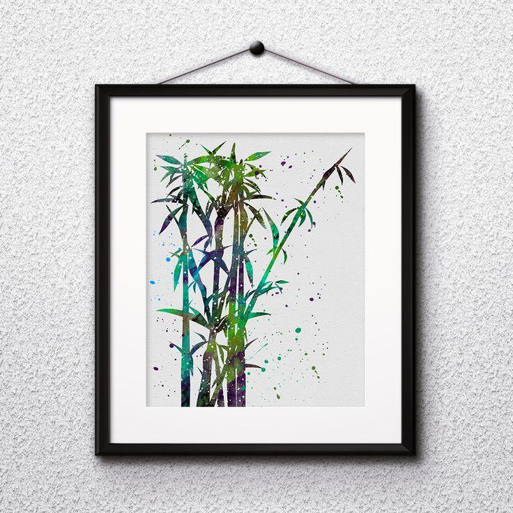 Bamboo Wall Art Print Watercolor illustration Painting Poster Home decor