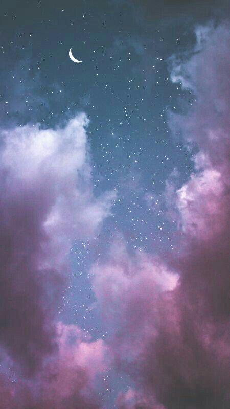 Pretty blue, pink & purple twilight sky with the moon & stars phone wallpaper