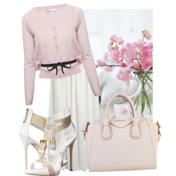 sweety pinks by anggun-chantiq on Polyvore featuring polyvore fashion style RED Valentino Giuseppe Zanotti Givenchy