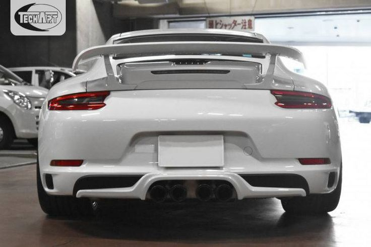 The rear of this #TECHART modified 991.2 by Lager Corporation. It features the rear spoiler II, rear diffusor and the TECHART exhaust system with 4 central pipes.