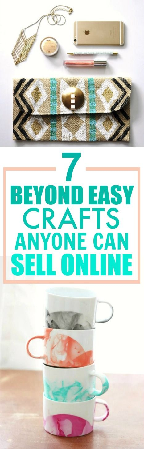These 7 easy crafts you can make and sell online are THE BEST! I'm so happy I found this AMAZING post! Now I have a plan for making money online! I'm so EXCITED! SO pinning for later!