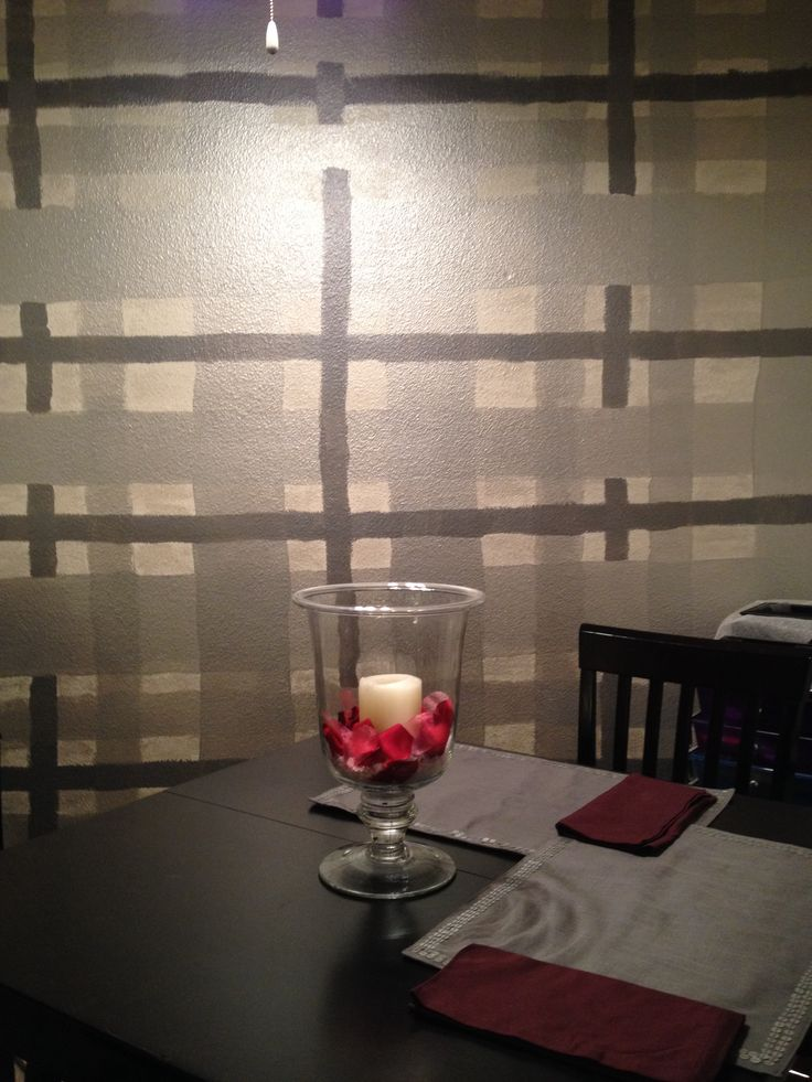 Painted Plaid Wall comforts of home Pinterest Plaid