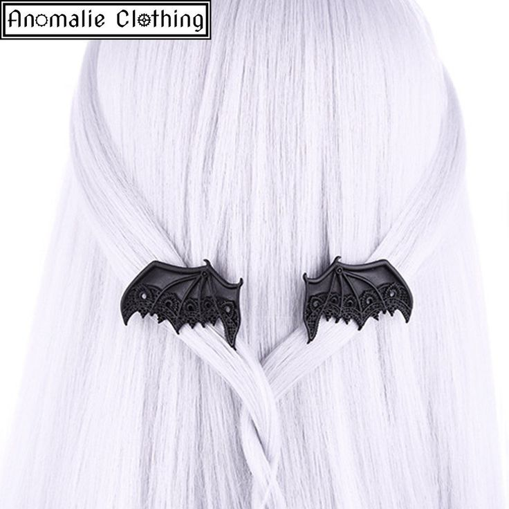 Black Lace Bat Wing Hair Clips