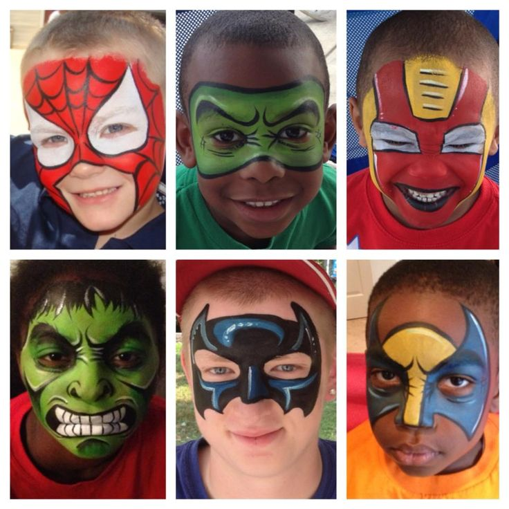 Hero Masks face painting ideas - Maquillage super héro - Batman, spiderman - Camping le moulin France