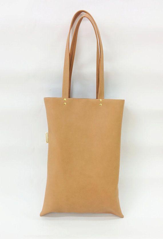 Vegan Leather Bag Nude  tote bag Women Hand #bagsandpurses @EtsyMktgTool http://etsy.me/2abE9SU